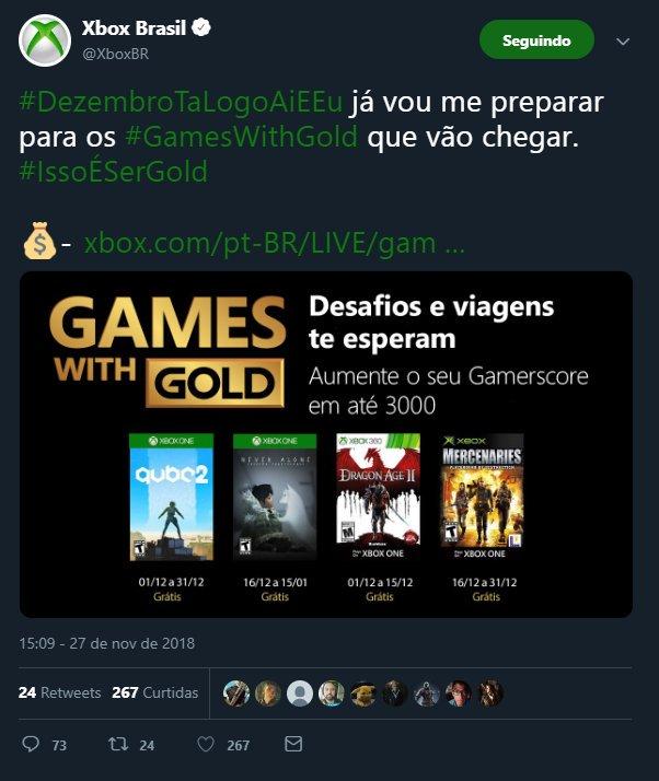 A @XboxBR apagou o post (Onde mostrava os jogos do GwG de Dezembro/2018) onde a galera estava reclamando (e com razão) da troca de jogo (Dragon Age 2 por The Maw)....vai ficar por isso mesmo? Vão ignorar todas as reclamações e fingir que nada aconteceu? twitter.com/XboxBR/status/…