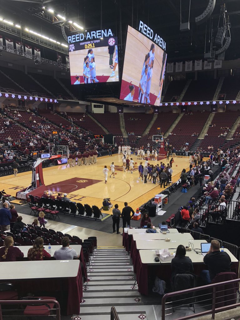 We're live from Reed Arena for  vs. Central Arkansas. Follow along as we post updates from press row. https://t.co/RhsYxXbqDV