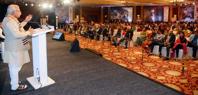 CM @mlkhattar speaking at the #JagranForum held in New Delhi today. Photo