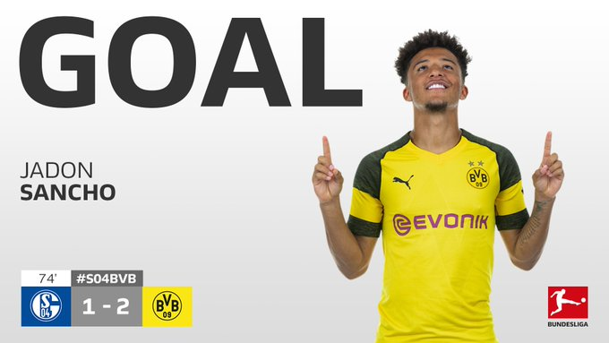 First #Revierderby goal for Jadon Sancho. What a moment to get it 🏴 #S04BVB Photo