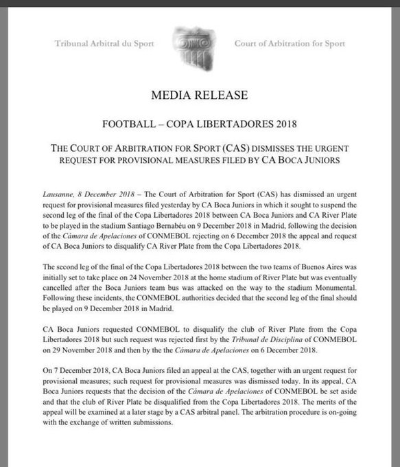#Finalísima #CopaLibertadores El TAS ha rechazado la solicitud presentada por Boca Juniors, que solicitaba la suspensión del partido de vuelta de la Copa Libertadores ante River Plate. Foto
