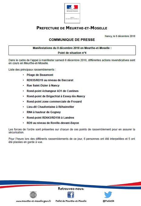 Manifestations du #8Decembre en Meurthe-et-Moselle : point de situation n°4 Photo