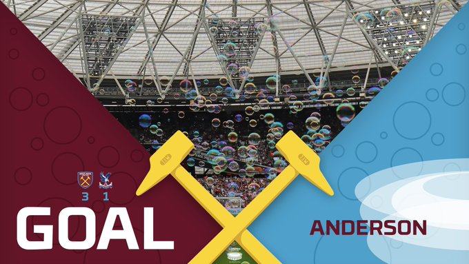 GOAL! Anderson with a beauty! The Brazilian picks up the ball, cuts onto his right foot and curls a picture-perfect finish past a flailing Hennessey. Three goals in 17 minutes. What a half time team talk that must have been. #COYI #WHUCRY Photo