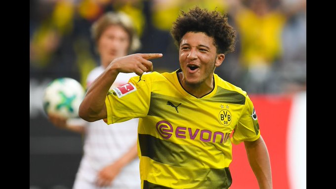 🙌 Jadon Sancho has become the first 18-year-old to score for Borussia Dortmund in a #Revierderby! What a talent! #BVB Photo