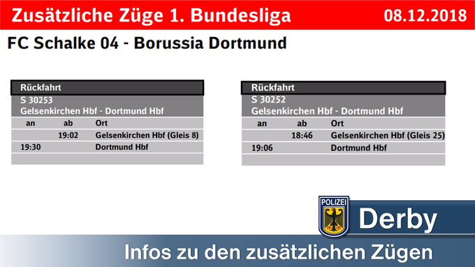 Das Spiel #S04BVB ist aus. Wir bereiten uns am Hbf. In Gelsenkirchen auf die Abreise vor. Die zusätzlichen Züge für die Fans von @BVB fahren wie folgt: 1. 🚂 um 18:46 Uhr auf Gl. 8️⃣ 2. 🚂 um 19:02 Uhr auf Gl. 2️⃣5️⃣ Foto
