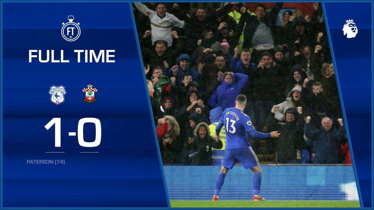 FULL TIME: #CardiffCity 1-0 @SouthamptonFC  💙 @Callump7  #CARSOU #CityAsOne 🔵⚽️🔵⚽️