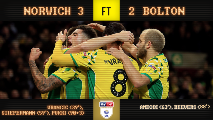 FULL-TIME | Norwich City 3-2 Bolton Wanderers A stoppage time goal from Teemu Pukki gives Norwich another three points at home! #ncfc Photo