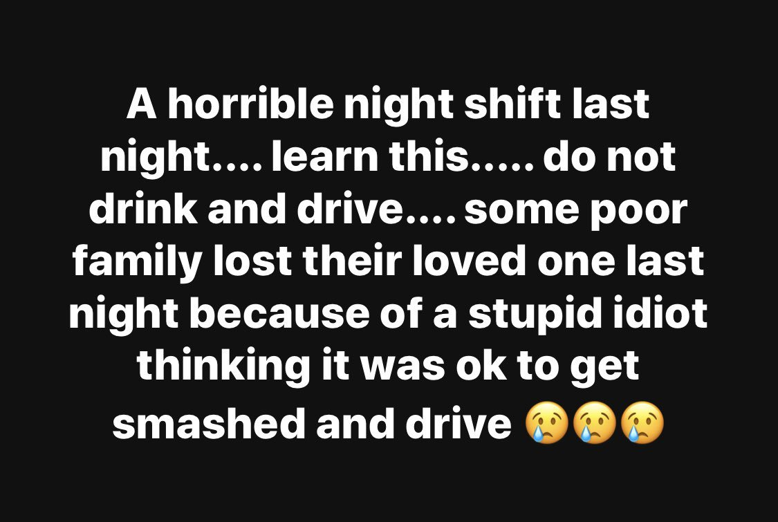 This is tragic to read ; but more tragic for the family. The message is so simple. Don't drink and drive.
