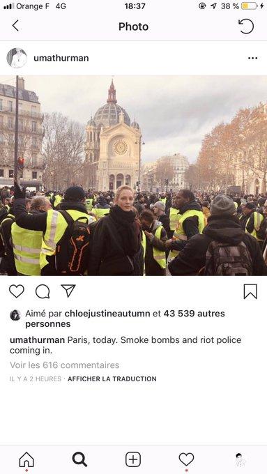 Uma Thurman et Owen Wilson étaient donc à Paris, aux abords ou dans la manifestation des gilets jaunes. Je sais pas quoi faire de cette info Photo