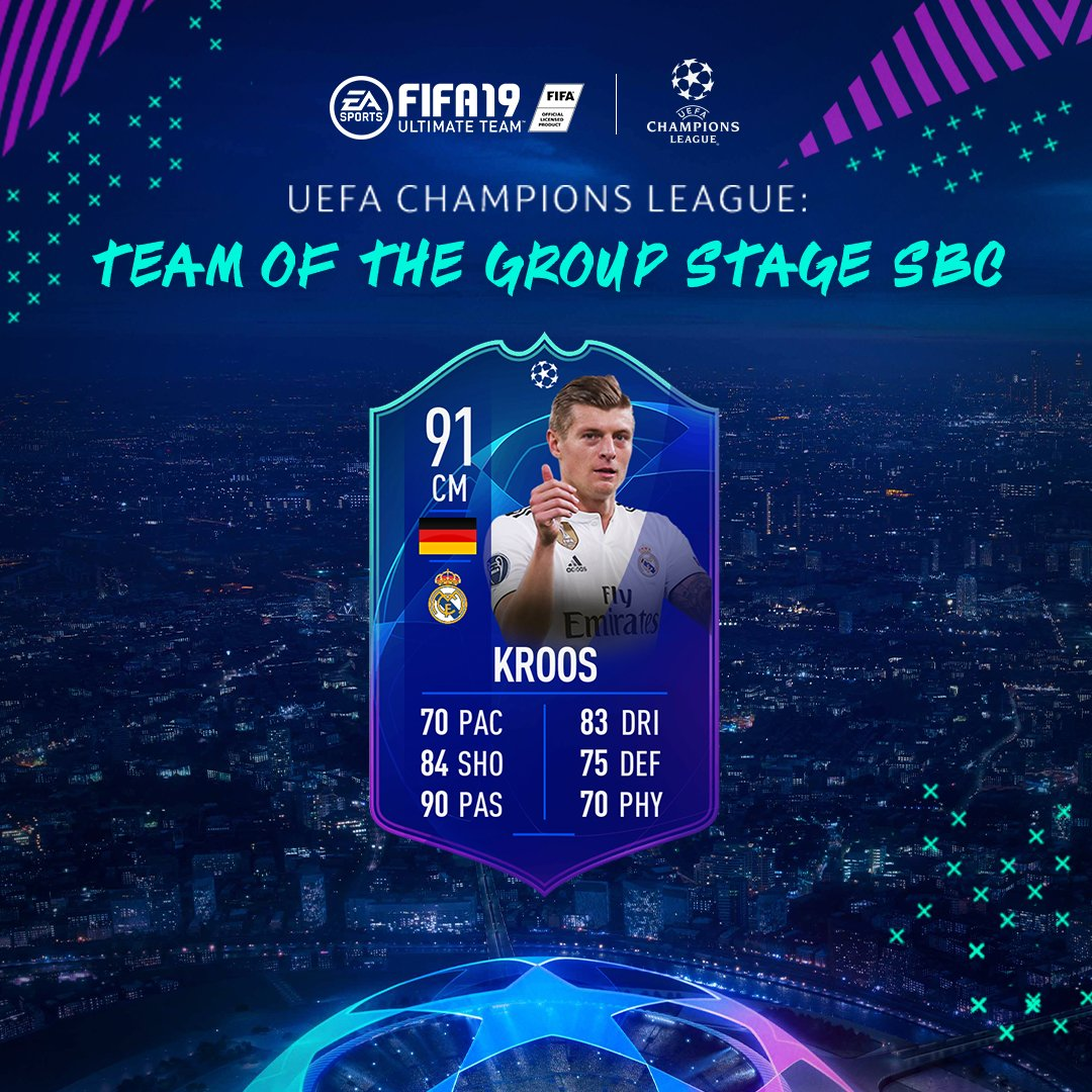 #UCL Team Of The Group Stage Toni Kroos available now via SBC #FUT #FIFA19