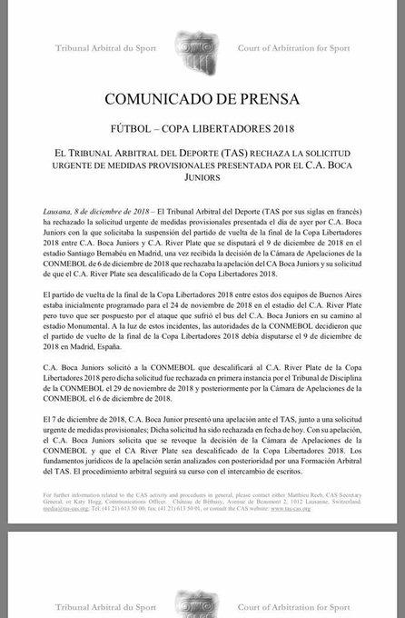 @BocaJrsOficial solicitó ante el #TAS no jugar la súper final de la @Libertadores de mañana. El tribunal, en modo urgencia, denegó el pedido. #SFI Foto