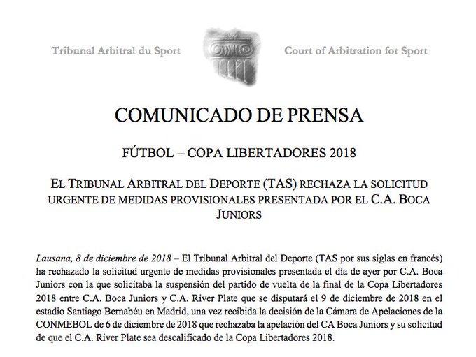 #ELVBARCaracol ¡Comunicado Oficial! El Tribunal Arbitral del Deporte (TAS) negó la solicitud urgente @BocaJrsOficial para la suspensión de la final de la Copa Libertadores ante @CARPoficial Foto