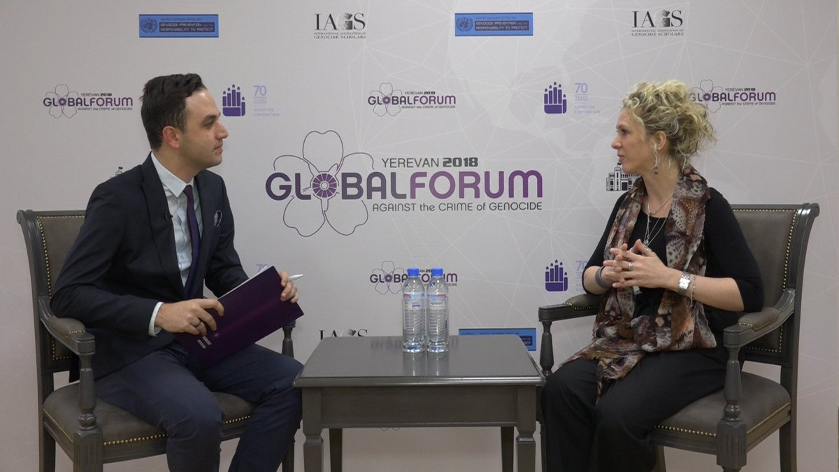 Yerevan Global Forum 2018 #AgendaToPrevent  Go through the below link to watch the interview with Irene Victoria #Massimino, Rapporteur in the #High_Criminal Court in #Buenos_Aires   https://bit.ly/2rslji4pic.twitter.com/eUOJt8Nr69