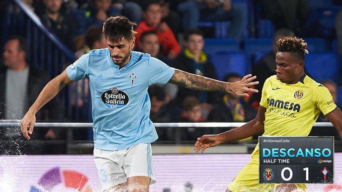 ⏸️ ¡Llega al descanso! Por delante en el marcador gracias a un gran tanto de @BraisMendez10. #VillarrealCelta 0-1 #afoutezaecorazón 💙 Foto