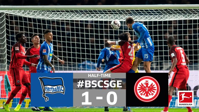 A thunderous header is the difference as @HerthaBSC_EN lead at the break ⏸️ #BSCSGE Photo