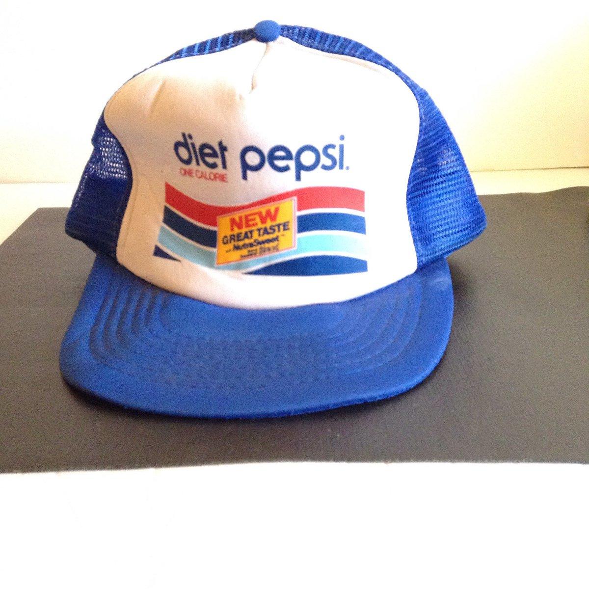 ... Vintage DIET PEPSI Nutra Sweet Snapback Trucker Hat Red White Blue c8759e417977