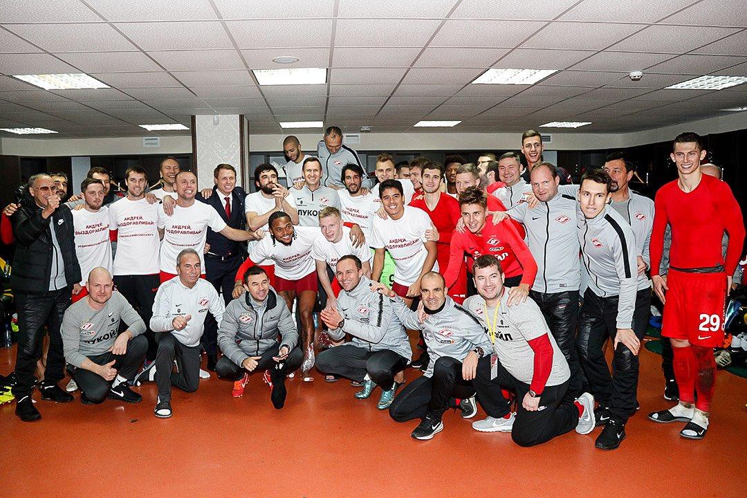 Командное фото «Спартака» после победы над «Анжи» (3:0)
