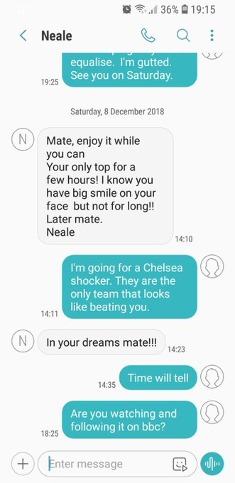 This is me and my friend having a chat after we (Liverpool) won at Bournemouth. #bbcfootball #CHEMCI Photo
