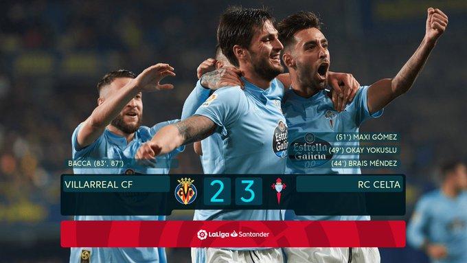 🚨 @RCCelta يحسم المباراة أمام فياريال لصالحه بثلاثة أهداف مقابل هدفين .➕3⃣ #VillarrealCelta 2-3 Foto