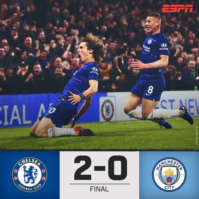 ¡Final! El @ChelseaFC le pone freno al invicto del Manchester City en la #PremierLeague ✋ Los blues se llevan el partido con goles de Kanté y David Luiz ⚽ Photo