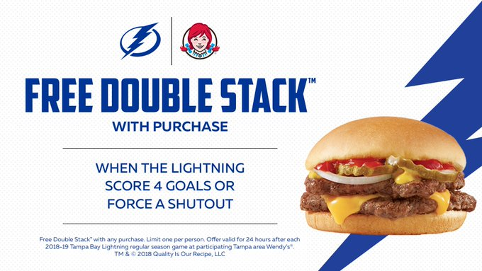 17 makes it four! He nets our fourth goal tonight which means you score a free Double Stack at @Wendys with any purchase. Valid at participating Tampa Bay area locations for 24 hours after tonight's game! 🍔 #GoBolts Photo