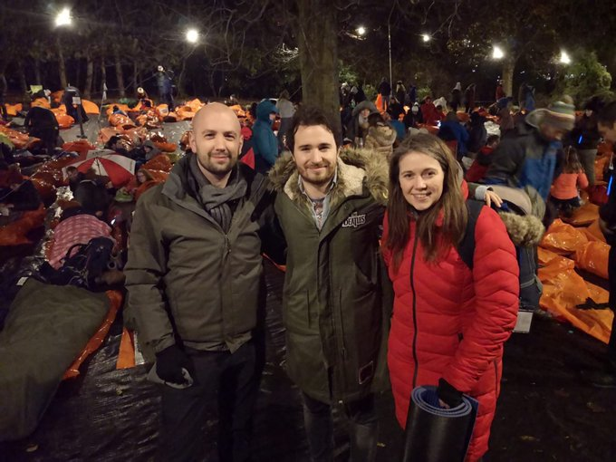 Goodnight from @ClydesdAileen and @BenMacpherson at #SleepInThePark. Working together we can end homelessness Photo