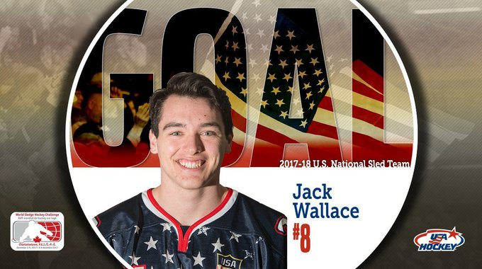 Jack Wallace (Franklin Lakes, ) scored twice, including the championship-clinching goal with 7:29 to play in regulation, to lead the 2018-19 National Sled Hockey Team to a 5-4 victory over Canada in the championship game of the 2018 Para Hockey Cup. Photo