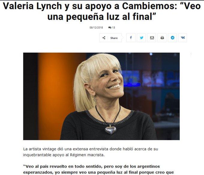 """Valeria Lynch y su apoyo a Cambiemos: """"Veo una pequeña luz al final"""" Retinosis pigmentaria? Son problemas de la vejez, no le pidan nada mas pobre Foto"""