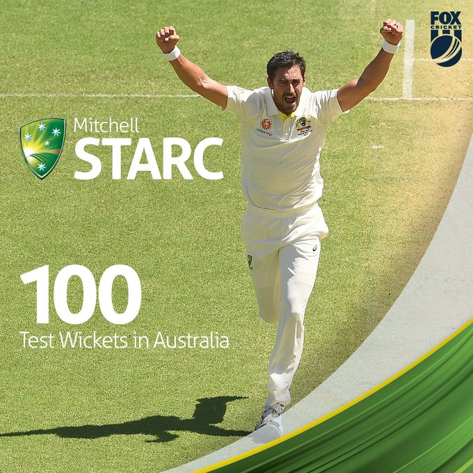 Mitchell Starc becomes the 18th bowler to take 100 Test wickets in Australia #AUSvIND 🇦🇺 Photo