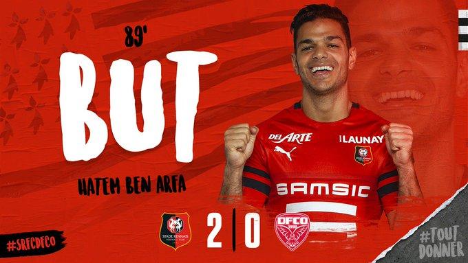 89e. Le break est fait ! Du gauche, Hatem Ben Arfa signe son deuxième but de la semaine et permet au Stade Rennais de mener 2-0 au @RoazhonPark (2-0) #SRFCDFCO Photo