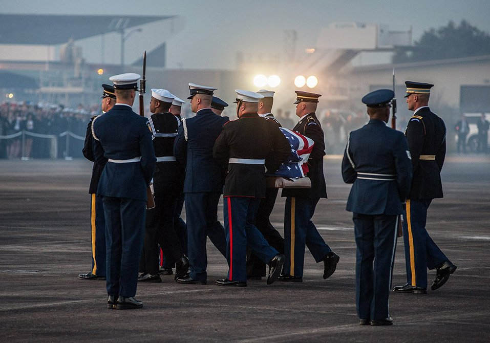Below is a small selection of images that I made this past week during the funeral of former President George H.W. Bush. These images were taken at Ellington Field, St,Martins Church and from the Funeral Train. (Photo Credit Office of George H.W. Bush - Mark Burns) #Bush41