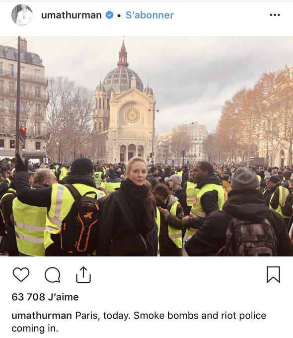 Uma Thurman au milieu de la manif oklm #GiletsJaunes #8Decembre Photo
