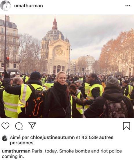 EN DIRECT - Gilets jaunes: Uma Thurman se photographie au milieu des gilets jaunes Photo