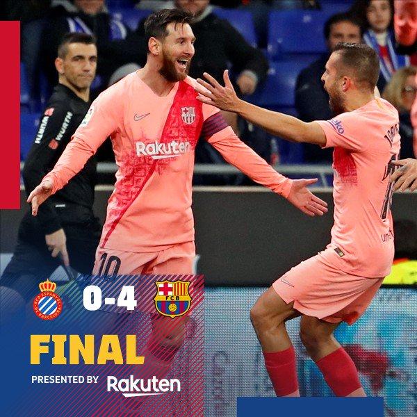⏰ ¡Final del partido! ⚽ RCD Espanyol 0-4 FC Barcelona 👟 Leo Messi (x2), Dembélé & Suárez 🔵🔴 #EspanyolBarça Foto