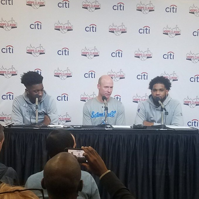 Post game press conference from @SetonHallMBB after their thrilling victory over @KentuckyMBB in overtime in the second annual #CitiHoopsClassic Photo