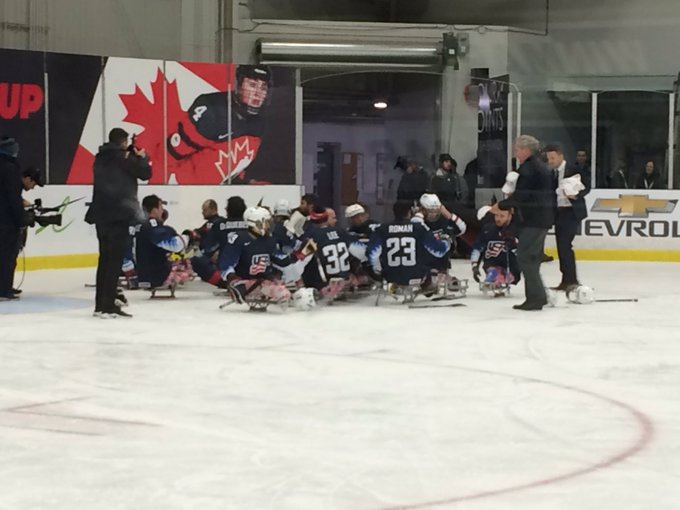 USA defeats Canada 5-4 to win the gold medal at the Para Hockey Cup. Great game played by both teams. @CTVLondon #LdnOnt #CTParaCup Photo