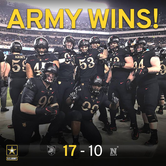 Army beats Navy 17-10! 3 in a row! #GoArmy #ArmyNavyGame Photo