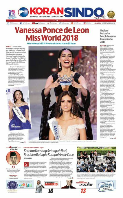 Miss Meksiko Vanessa Ponce de Leon dinobatkan sebagai #MissWorld2018, wakil Indonesia Alya Nurshabrina masuk 30 besar. Baca selengkapnya di Koran SINDO hari ini. Photo