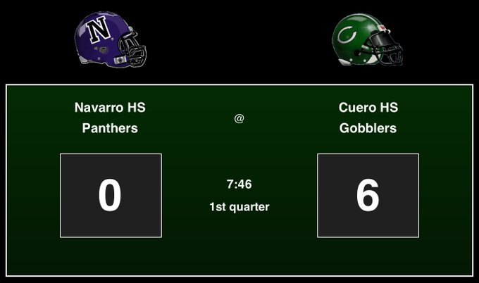 Navarro HS Panthers: 0, Cuero HS Gobblers: 6, 1st quarter - GO MEAN GREEN!!! #footballfriday #txhsfb Foto