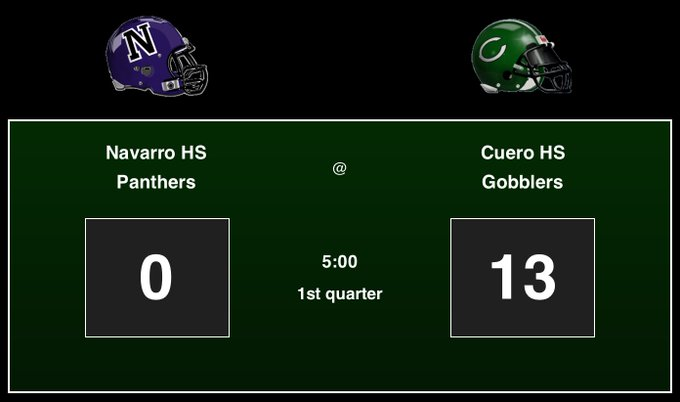 Navarro HS Panthers: 0, Cuero HS Gobblers: 13, 1st quarter GO GOBBERS GO!! #footballfriday #txhsfb Foto