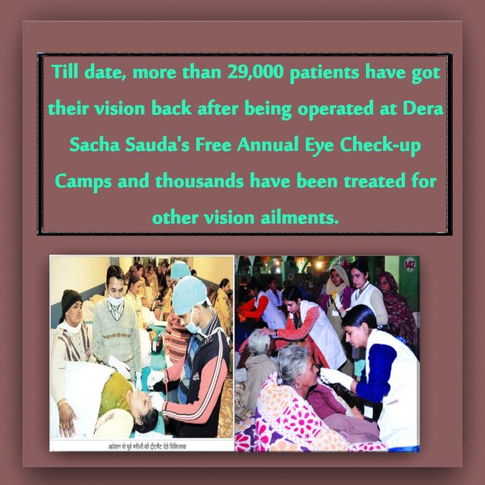@Gurmeetramrahim #FreeEyeCampRegistration All medical treatment r free so come nd get benefits Photo