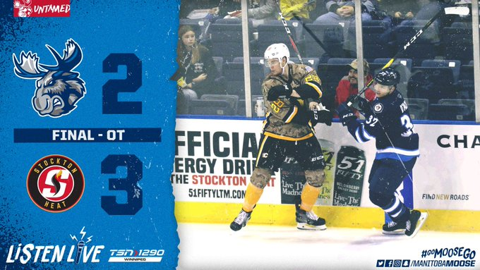 Mikhail Berdin made 43 saves, including six in overtime, but the #MBMoose fell 3-2 in Stockton. #GoMooseGo RECAP >> Photo
