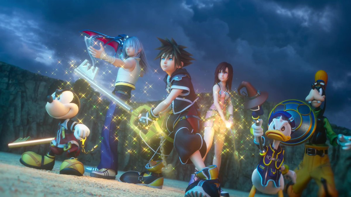 "Here's a sneak peek at how the epic adventure begins 👀  Check out the #KingdomHearts III opening movie trailer, featuring the first listen of @utadahikaru & @skrillex's song ""Face My Fears""! 🎶  Pre-order the song from 9pm PST today/12am EST tomorrow!  👉 https://sonymasterworks.lnk.to/FaceMyFears"