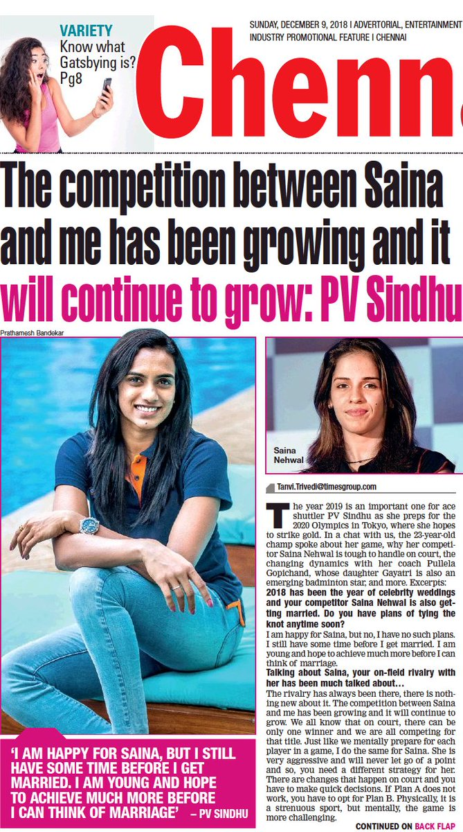 Good morning Chennai! Heres a glimpse of our edition today. For more interesting reads, visit timesofindia.indiatimes.com/entertainment/… @Pvsindhu1 @ihansika @NSaina