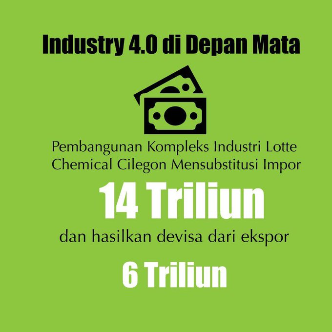 Selamat atas dibangunnya pabrik Lotte Chemical di Cilegon. Pabrik ini diprediksi mampu mensubstitusi impor senilai 14 triliun dan akan menghasilkan devisa dari ekspor sebesar 6 triliun. #bersamamuIndonesiamaju Photo