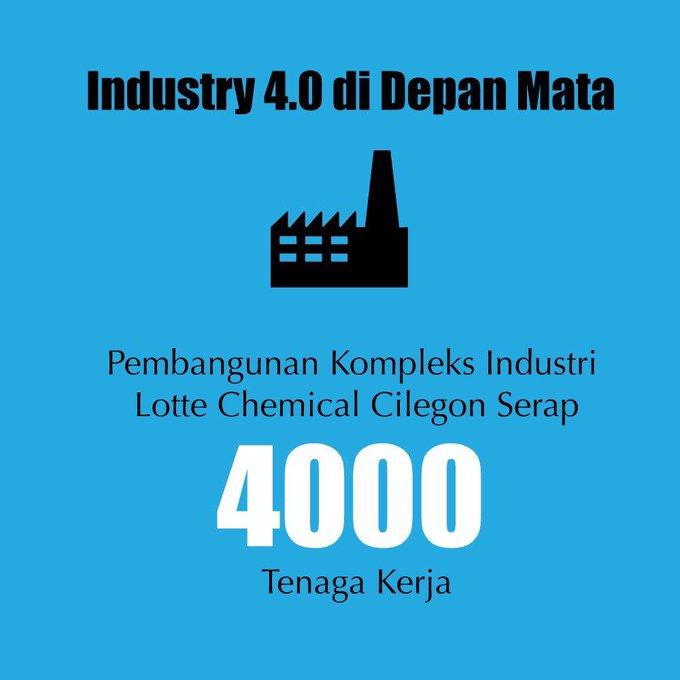 Pembangunan kompleks industri chemical Cilegon menyerap banyak tenaga kerja yaitu sebanyak tenaga kerja. Hal ini diharapkan mampu menggerakkan roda perekonomian sehingga berdampak positif terhadap pertumbuhan ekomomi. #bersamamuIndonesiamaju Photo
