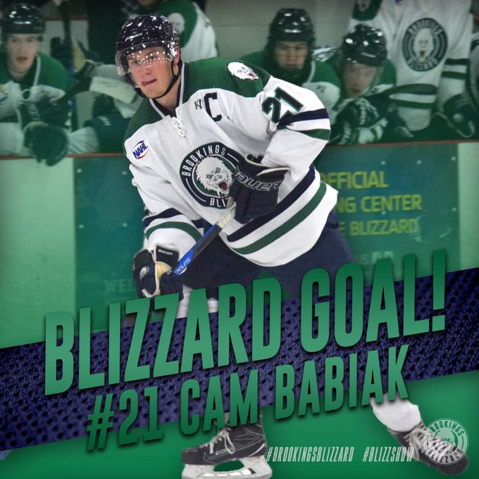 🚨BLIZZARD GOAL!🚨 Babiak scores a power-play goal and we are all tied 1-1! 🍎: Marino, Wahl #BrookingsBlizzard | #BlizzShow Foto