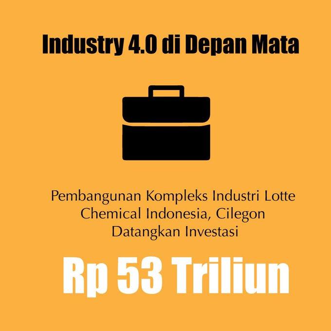Di dalam peta jalan Making Indonesia , telah ditetapkan industri kimia menjadi salah satu sektor yang mendapatkan prioritas pengembangan agar menjadi pionir dalam penerapan revolusi industri , #bersamamuindonesiamaju Photo