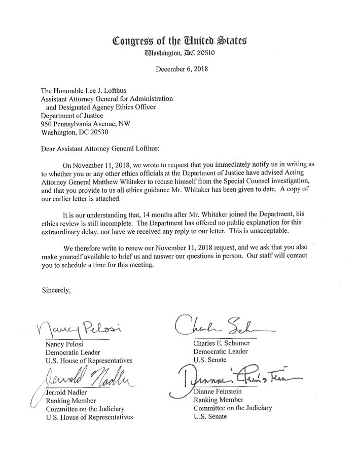 Congressional Democrats—after not getting a response the first time—are again requesting a briefing on whether Matthew Whitaker has been advised by ethics officials to recuse himself from the Mueller investigation. <br>http://pic.twitter.com/esOk3f4kKY