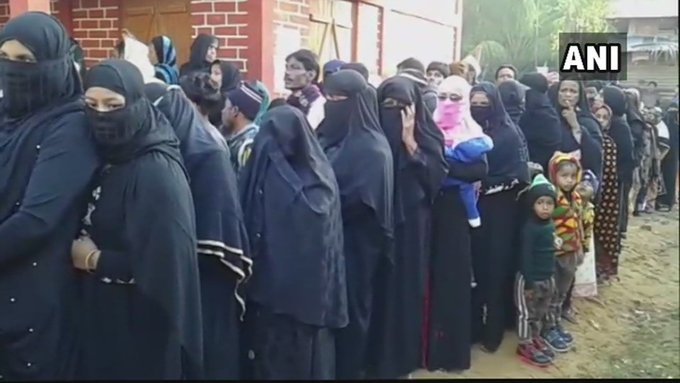 Voting underway for the 2nd phase of panchayat polls in Assam. Visuals from a polling station in Karimganj. Picture Credits: ANI Photo